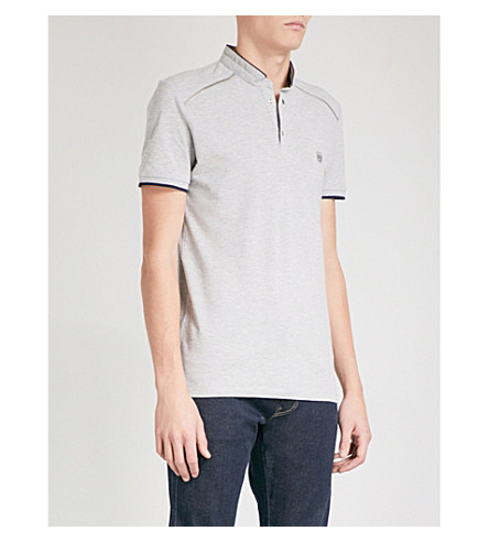 THE KOOPLES Officer-collar cotton-piqué polo shirt (Gry38