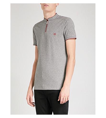 THE KOOPLES Zip-neck cotton-piqué polo shirt (Gryc6