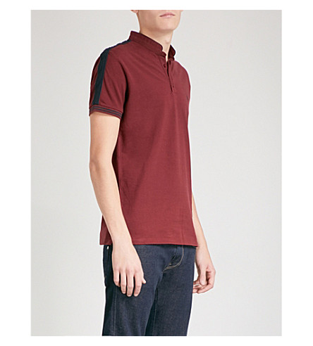THE KOOPLES Band collar cotton-piqué polo shirt (Bur30