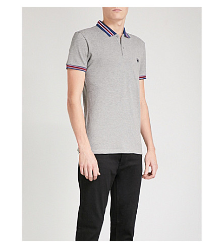 THE KOOPLES Striped-collar cotton-pique polo shirt (Gry01