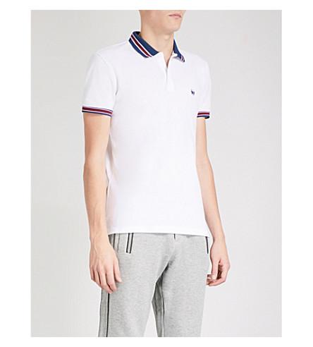 THE KOOPLES Striped-collar cotton-pique polo shirt (Whi01