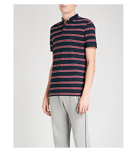 THE KOOPLES Band-collar striped cotton-piqué polo shirt (Bluu3