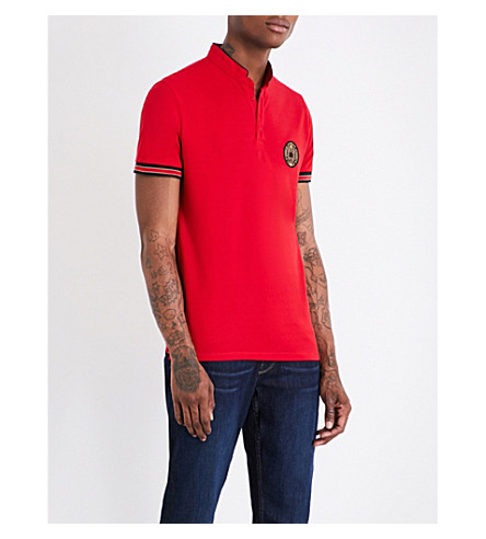 THE KOOPLES SPORT Officer-collar slim-fit contrasting-trim polo-shirt (Red19