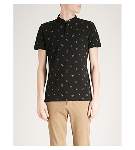 THE KOOPLES Palm-print cotton polo shirt (Bla01