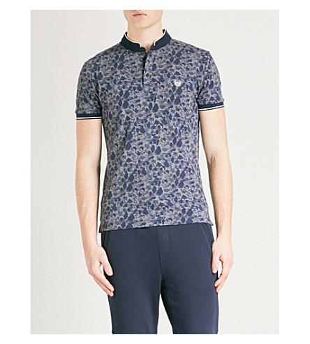 THE KOOPLES Camouflage-pattern slim-fit cotton-piqué polo shirt (Nav01