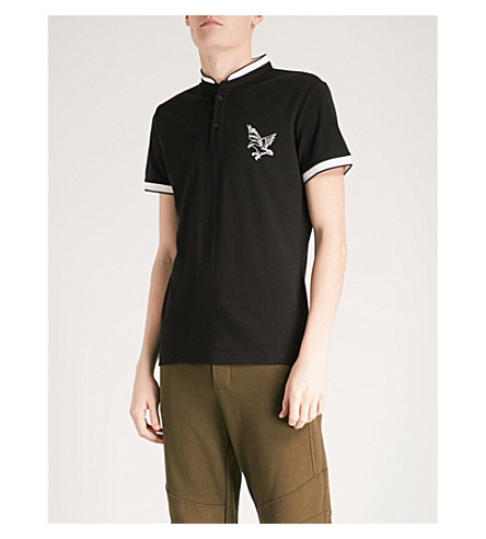 THE KOOPLES Embroidered eagle officer-collar cotton-piqué polo shirt (Bla06