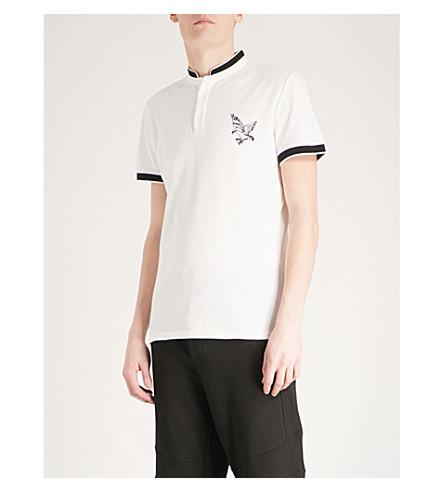 THE KOOPLES Embroidered eagle officer-collar cotton-piqué polo shirt (Ecr05