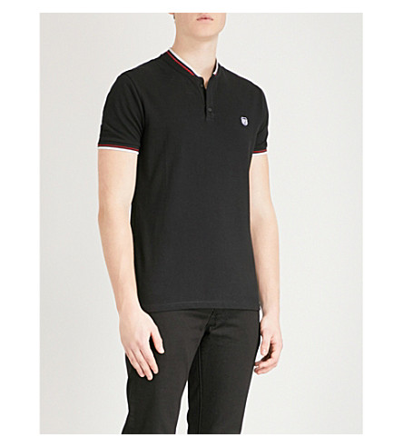 THE KOOPLES Contrast-piped slim-fit cotton-piqué polo shirt (Bla01