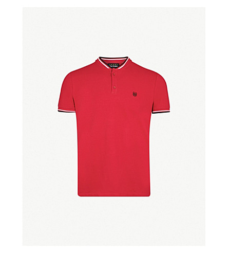 THE KOOPLES Contrast-piped slim-fit cotton-piqué polo shirt (Red01