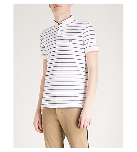 THE KOOPLES Striped cotton-piqué polo shirt (Whi05