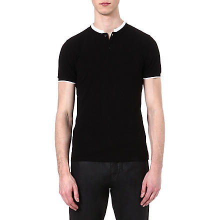 THE KOOPLES Stand-collar polo shirt (Black / white