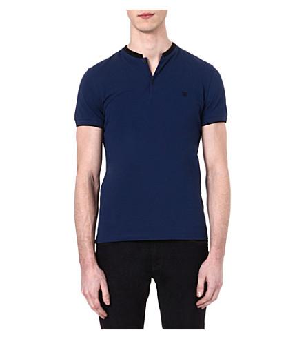 THE KOOPLES Stand-collar polo shirt (Dark navy / black