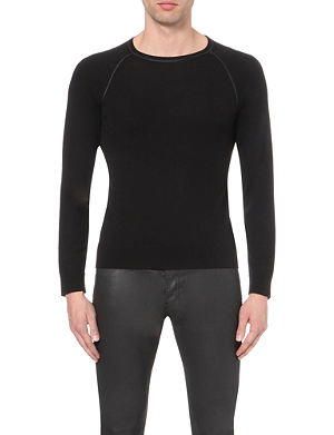 THE KOOPLES Leather-trim Merino wool jumper