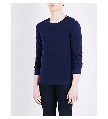 THE KOOPLES Skull-button cotton jumper (Blu20