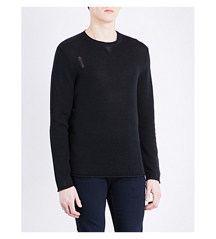 THE KOOPLES Distressed cotton-blend jumper (Bla01