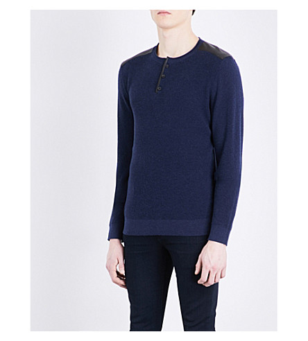 THE KOOPLES SPORT Leather-detail cotton jumper (Nav01