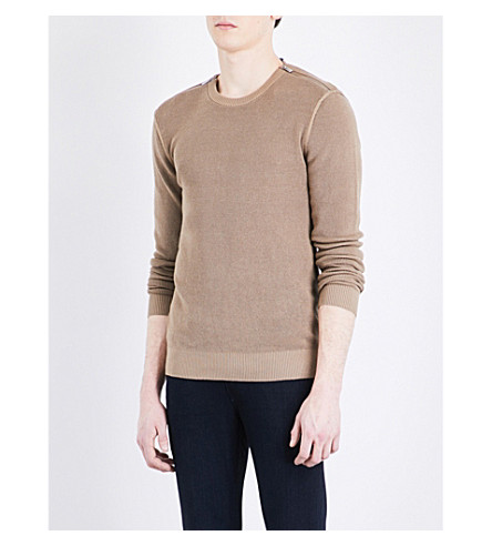THE KOOPLES Zip-detail stretch-cotton jumper (Cam01
