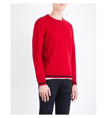 THE KOOPLES 纽扣细节羊毛和羊绒混合毛衣 (Red19