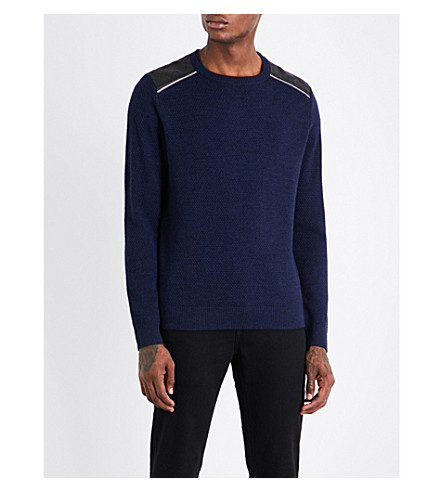 THE KOOPLES SPORT Leather-trimmed crewneck wool jumper (Nav01