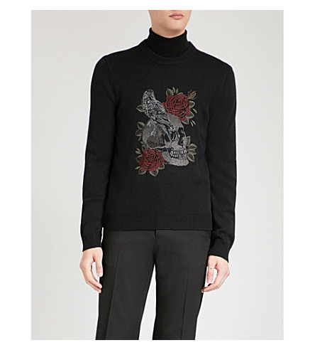 THE KOOPLES Skull-embroidered wool-blend jumper (Bla01