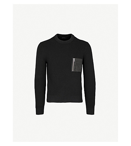 THE KOOPLES Zip-up pocket cotton-blend jumper (Bla01