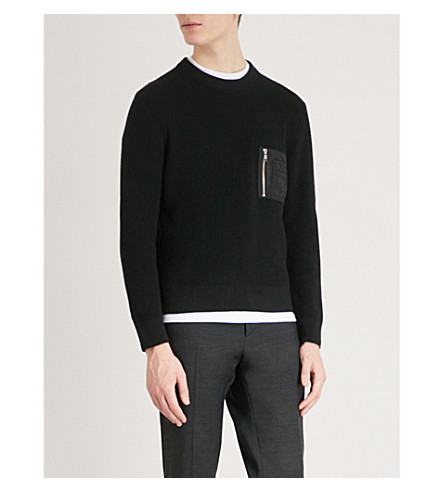 THE KOOPLES Zip-up pocket cotton-blend jumper (Bla01