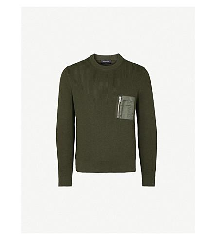 THE KOOPLES Zip-up pocket cotton-blend jumper (Grn09