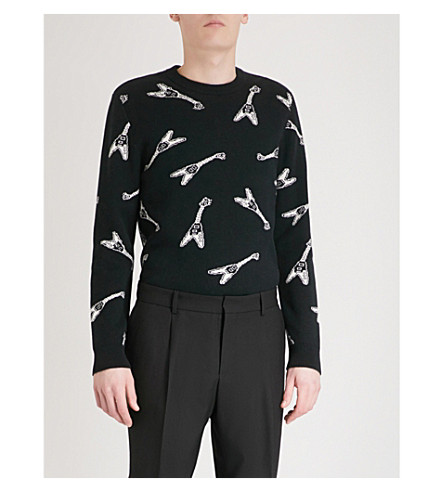 THE KOOPLES Guitar-patterned wool and cotton-blend jumper (Bla06