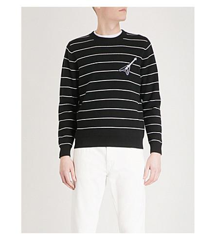 THE KOOPLES Guitar-embroidered striped cotton-blend jumper (Bla06