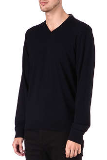 THE KOOPLES Leather-trimmed v-neck jumper