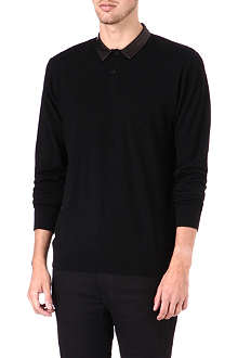 THE KOOPLES Leather-collar wool jumper