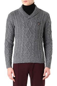 THE KOOPLES SPORT Shawl-collar cable-knit jumper