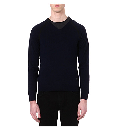 THE KOOPLES Contrast-detail wool jumper (Navy
