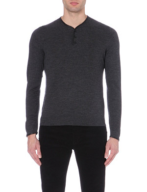 THE KOOPLES Leather-detail wool jumper