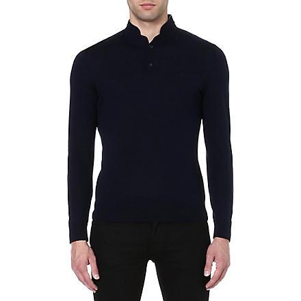 THE KOOPLES SPORT Leather-trim jumper (Navy/black