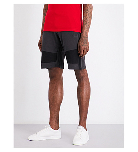 THE KOOPLES SPORT Contrasting panels cotton jogging shorts (Gry03