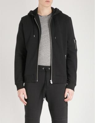 THE KOOPLES SPORT Zipped Cotton-Jersey Hoody in Bla01