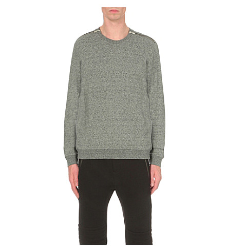 THE KOOPLES Shoulder zip crewneck (Grey+vintage
