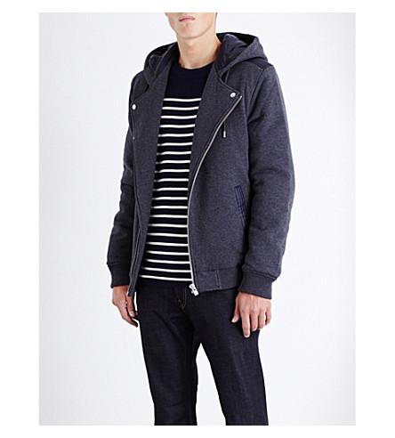 THE KOOPLES Drawstring cotton-jersey hoody (Mid+grey+navy