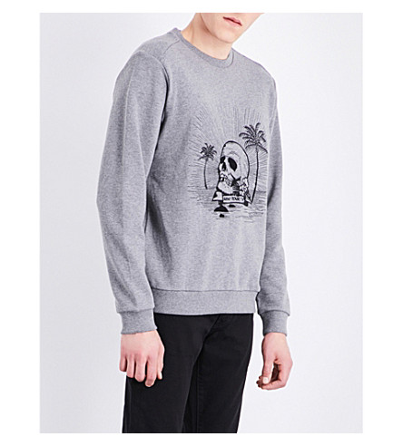 THE KOOPLES SPORT Skull-print cotton sweatshirt (Gry23