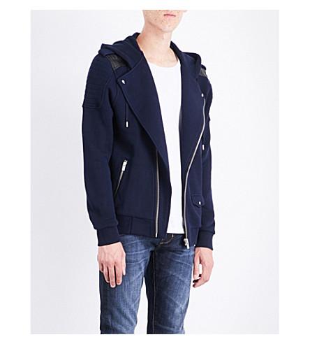 THE KOOPLES Leather-trimmed cotton jacket (Nav01