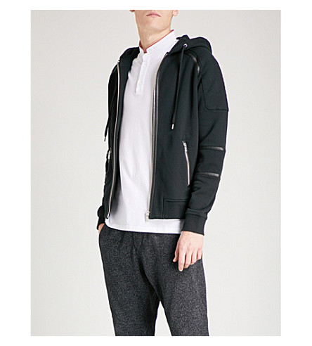 THE KOOPLES Faux leather-trim cotton-jersey hoody (Bla01