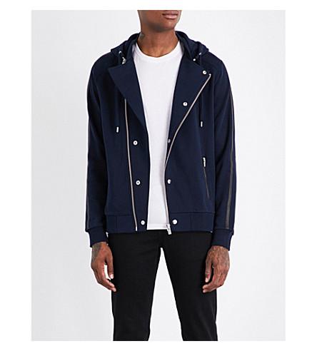 THE KOOPLES Leather-trimmed zip-up cotton hoody (Nav01