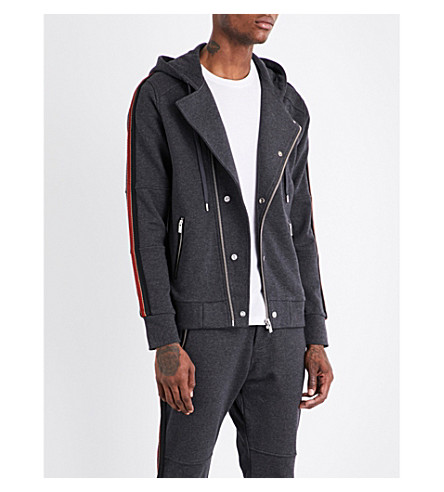 THE KOOPLES SPORT Striped-panel cotton hooded jacket (Gry45