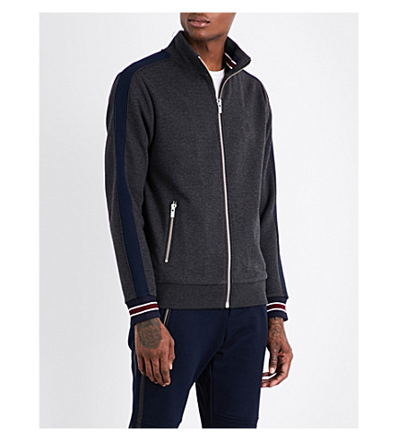 THE KOOPLES SPORT Striped ribbed trim zip-up sweatshirt (Gry24