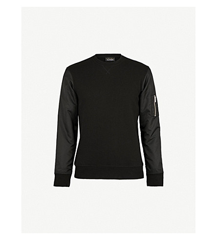 THE KOOPLES Zip-up pocket cotton-jersey and shell sweatshirt (Bla01