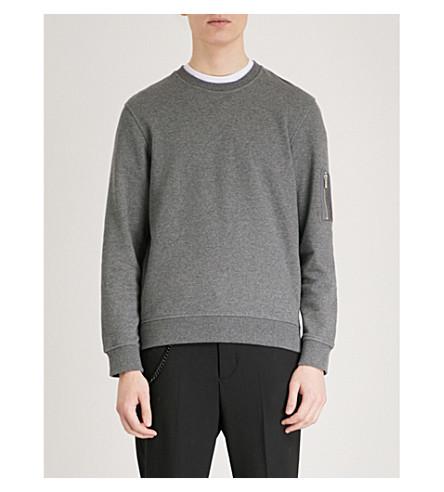 THE KOOPLES Zip-up pocket cotton-jersey sweatshirt (Gry23