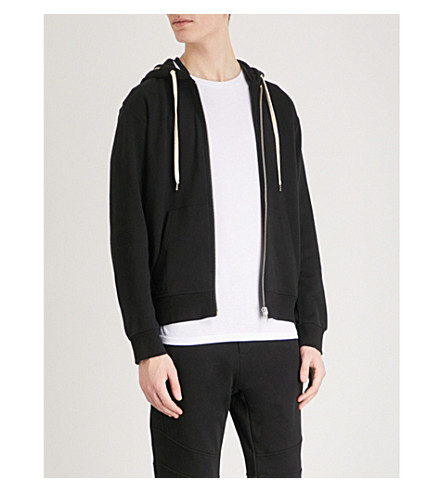 THE KOOPLES Zip-detail cotton-jersey hoody (Bla01