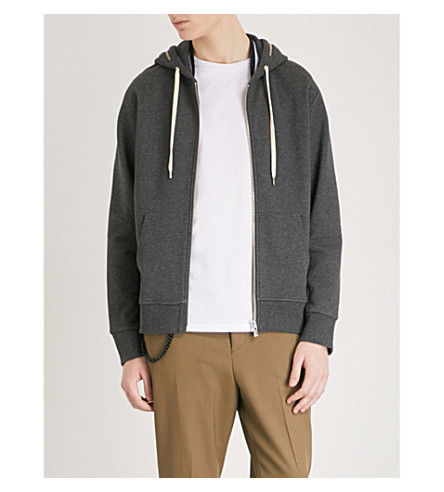 THE KOOPLES Zip-detail cotton-jersey hoody (Gry23