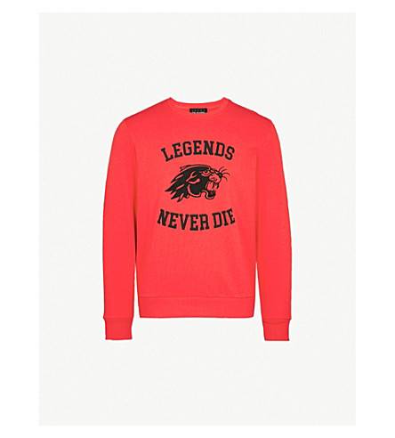 THE KOOPLES Panther-motif cotton-jersey sweatshirt (Red01